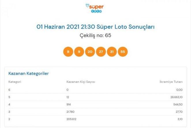 MPİ 1 Haziran Süper Loto sonuçları: Süper Loto bilet sorgulama ekranı #1