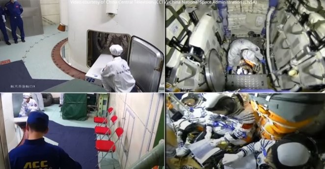 China sends 3 astronauts to new space station #4