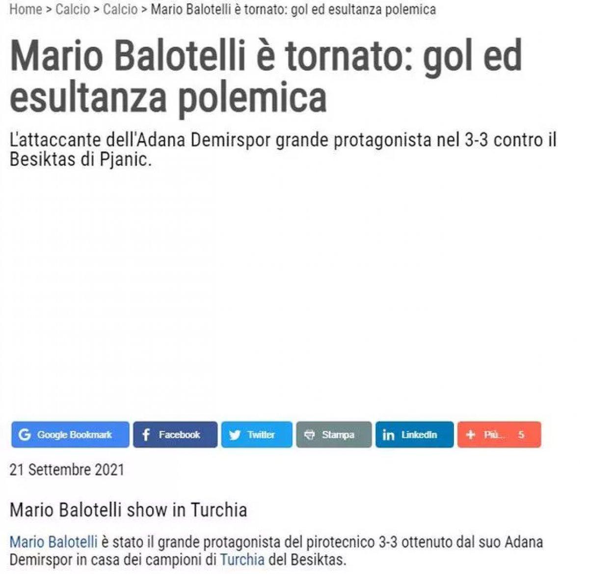 Balotelli nin yaptığı hareket dünya basınında manşet oldu #4
