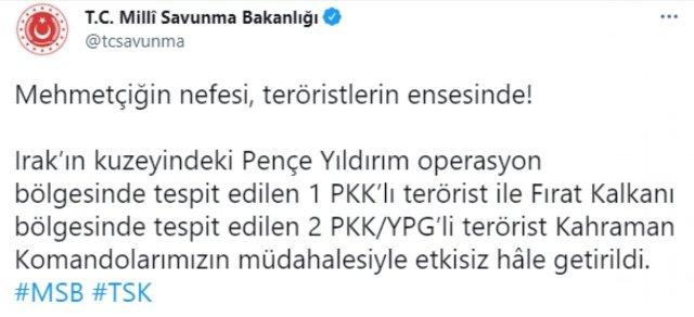MSB: 3 PKK lı terörist, etkisiz hale getirildi #2