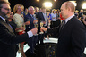 May 13, 2016. Russian President Vladimir Putin (center) congratulates the staff of the Sochi State Broadcasting Television Company in Sochi on the occasion of the 25th anniversary of the information holding VGTRK.