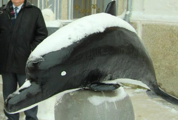 Sculpture de dauphin noir dans la cour de la colonie