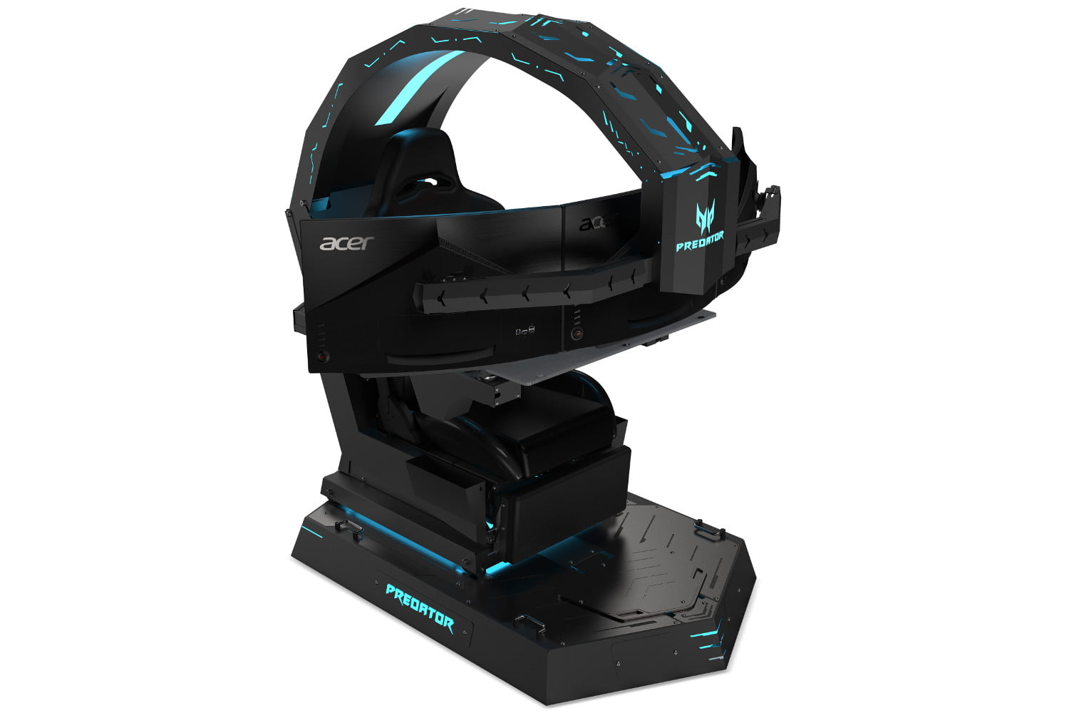 desktop gaming chair high back ribbed office acer s new predator is titanic holds three displays and a thronos