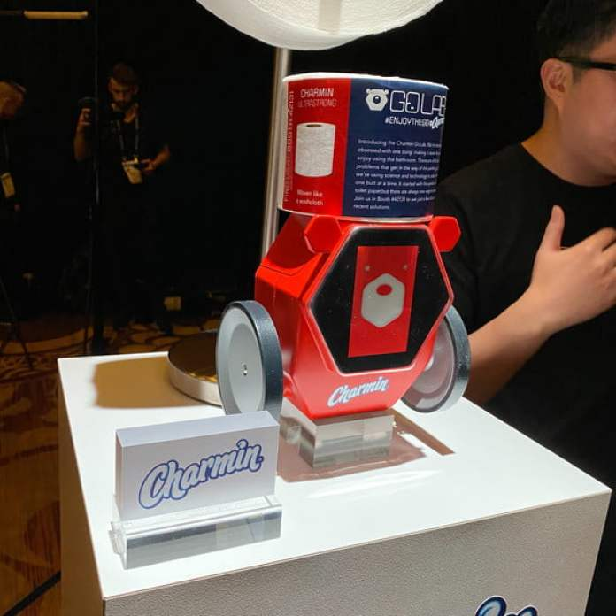 charmin wants you to have robot retrieves toilet paper ces 2020 rollbot
