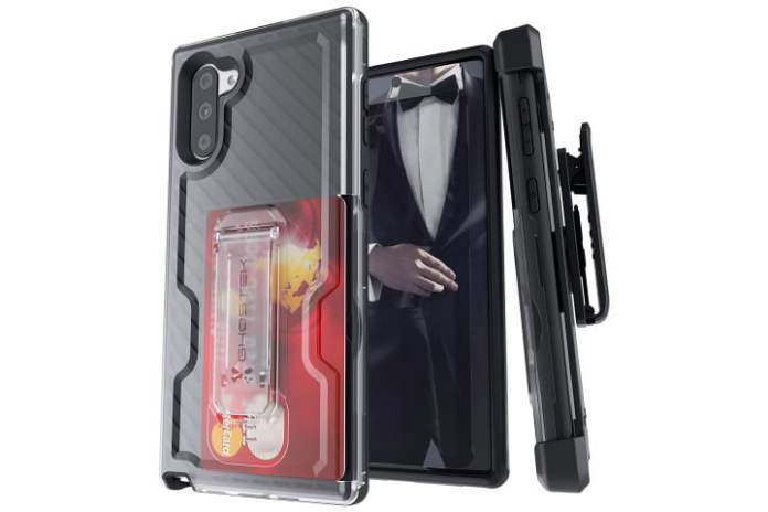 Photo shows the front, back, and side view of a Note 10 phone in a Ghostek Iron Armor 3 case