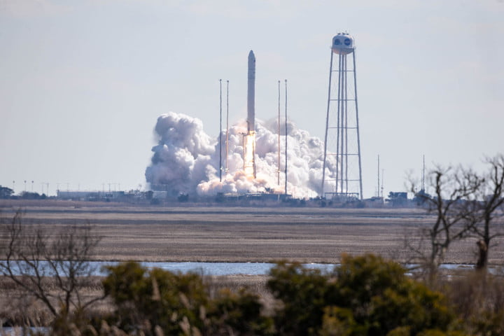 The Northrop Grumman Antares rocket, with Cygnus resupply spacecraft aboard, launches from Pad-0A, Saturday, Feb. 20, 2021, at NASA's Wallops Flight Facility in Virginia. Northrop Grumman's 15th contracted cargo resupply mission for NASA to the International Space Station will deliver about 8,000 pounds of science and research, crew supplies, and vehicle hardware to the orbital laboratory and its crew.