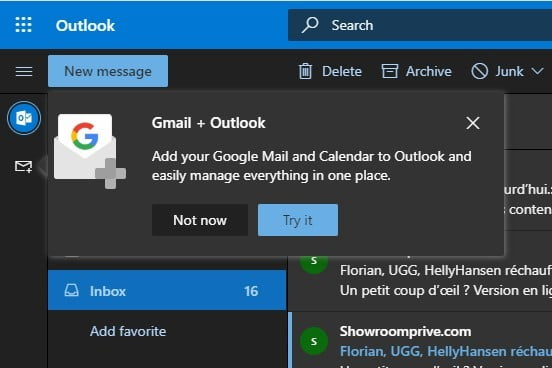 Outlook Gmail屏幕截图