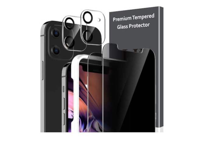 LK Tempered Glass Screen Protector and Lens Protector for iPhone 12