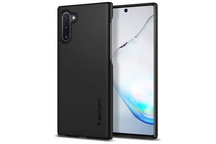 Photo shows the front and back view of a Galaxy Note 10 phone in a black thin fit case from Spigen