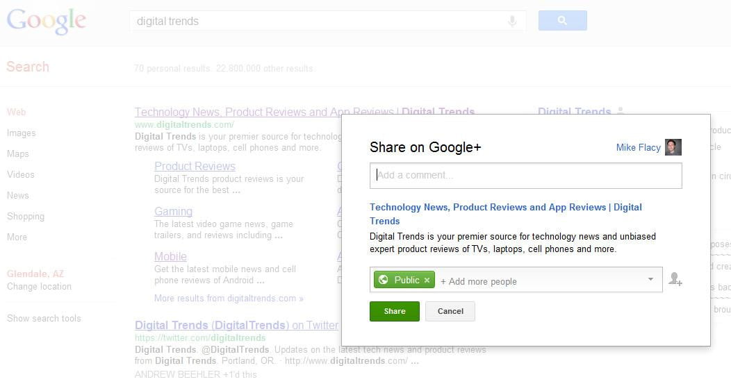 Google replaces the +1 button with a Google+ share link in