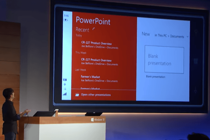 touch office ottimizzato per Windows 10 promettente buggy universal powerpoint