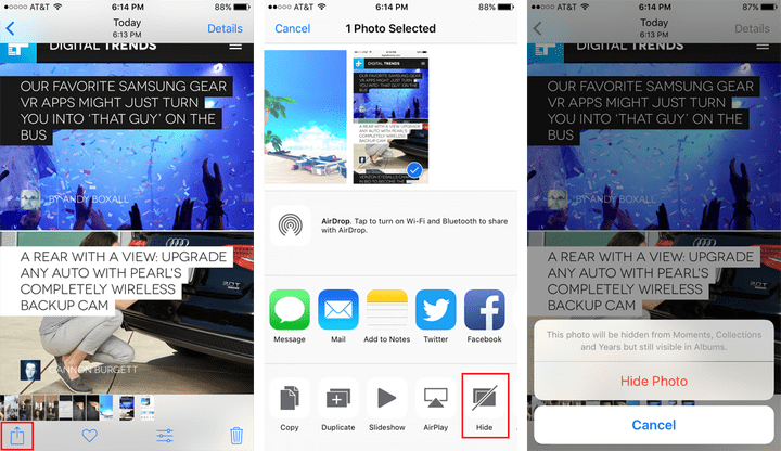Hide photos on your iPhone