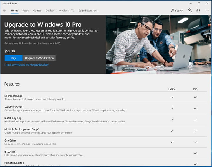 how to upgrade from windows 10 home pro step 3 ms store