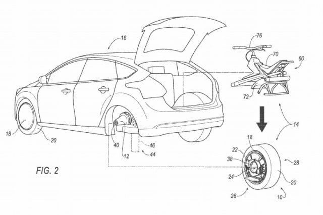 Ford suggests a rear car wheel that doubles as a unicycle