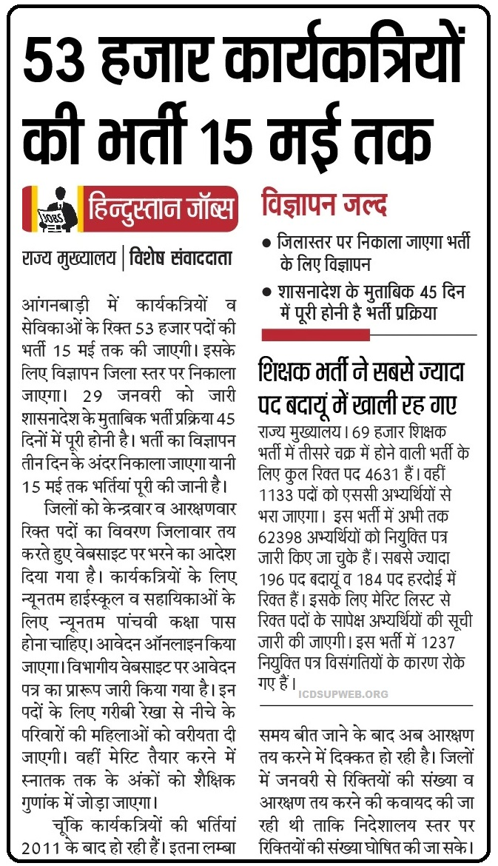 UP Anganwadi Bharti Update