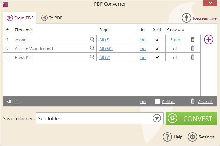 'Convert from PDF' mode