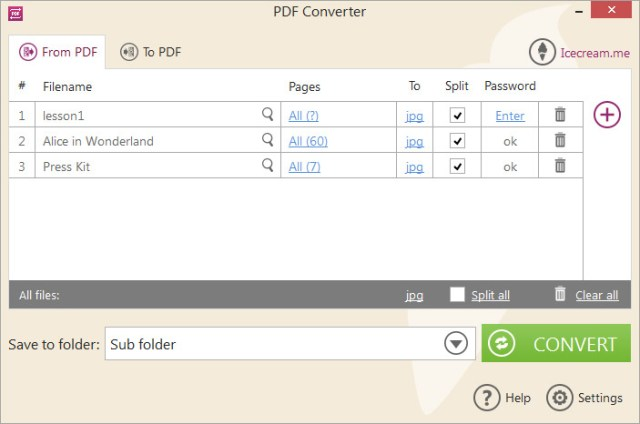 'Convert from PDF' mode