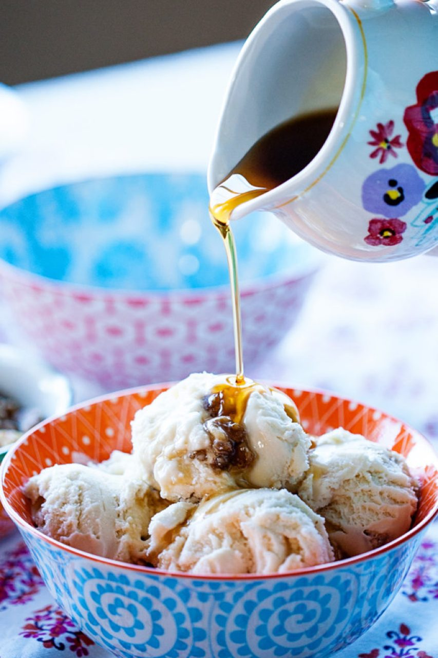 With real maple syrup and delicious nuts, this Maple Ice Cream with Caramelized Walnuts is the perfect, natural ice cream for fall.
