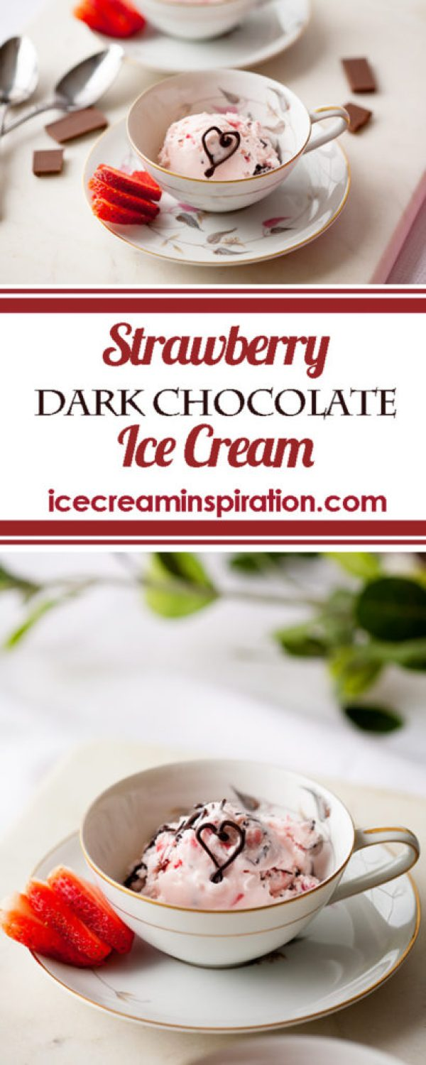 Strawberry Dark Chocolate Ice Cream. The perfect ice cream for Valentine's Day or your anniversary! Tastes just like chocolate covered strawberries! Strawberry Ice Cream recipe. Strawberry Chocolate Ice Cream recipe. Valentine's Day Desserts.