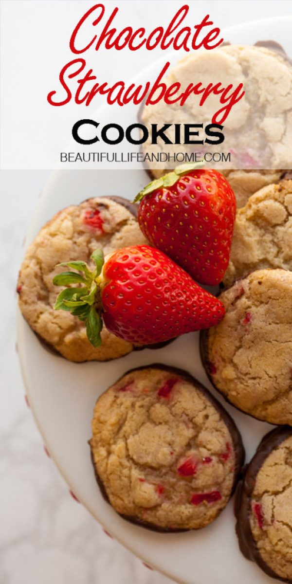 These amazing Chocolate Strawberry Cookies have fresh strawberries in a buttery, rich dough, followed with a dip in melted chocolate. Perfect for Valentine's Day!