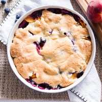 Crustless Peach Blueberry Pie
