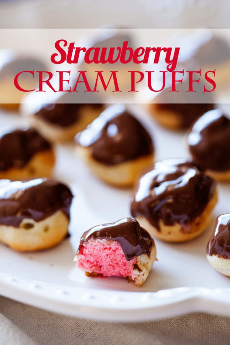 Want to learn how to make Strawberry Cream Puffs? It's really easy and makes such an impressive dessert! Cream puffs, strawberry chocolate covered cream puffs, strawberry chocolate cream puffs