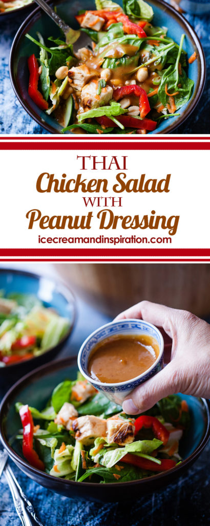 This Thai Chicken Salad with Peanut Dressing is the best Asian salad you will ever have! Colorful vegetables and chicken get dressed up, Thai style!