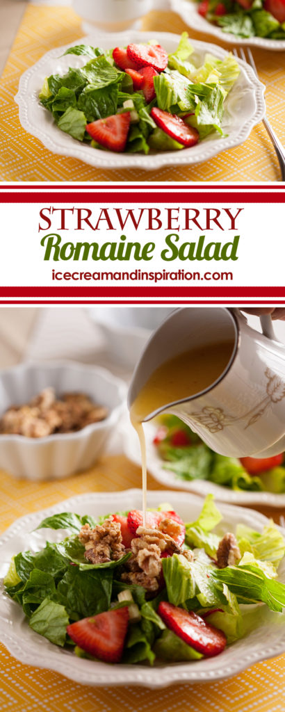 Make this Strawberry Romaine Salad with Orange Italian Dressing and candied walnuts. You'll be the hit of the party! Summer salad, strawberry salad