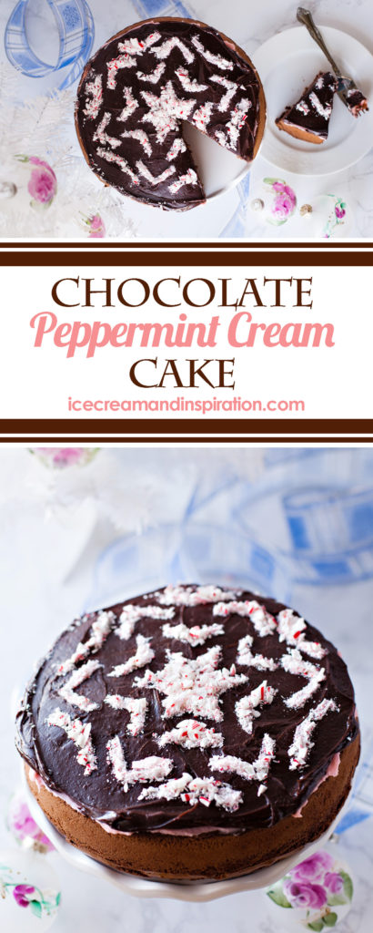 This show-stopping Chocolate Peppermint Cream Cake is the stuff of dreams! A thick, rich chocolate cake is topped with creamy peppermint and silky chocolate ganache. Take it over the top by decorating with a candy cane snowflake!