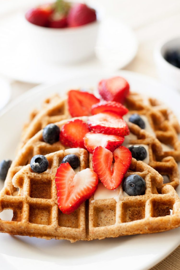 Eat a wholesome, healthy breakfast with these Whole Wheat Waffles. I've even got a low-sugar version for you!