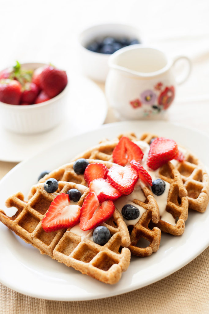 Whole Wheat Waffles. Low sugar version included! Healthy breakfast recipes.