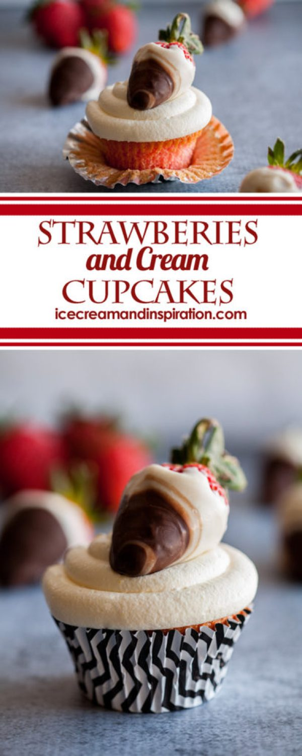 These Strawberries and Cream Cupcakes are full of vibrant strawberry flavor and topped with light and fluffy vanilla cream! The perfect treat for spring!