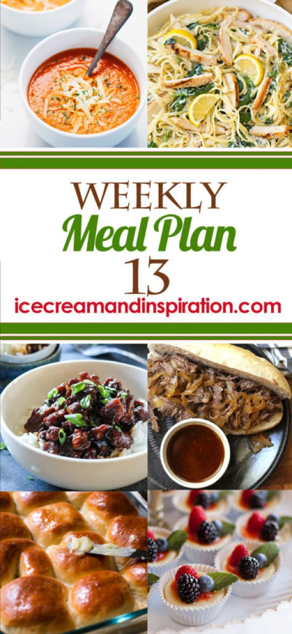 This week's meal plan has recipes for Sweet Caramel Pork, Steak Salad, Brown Sugar Pineapple Chicken, and more! Plus, recipes for bread and dessert.