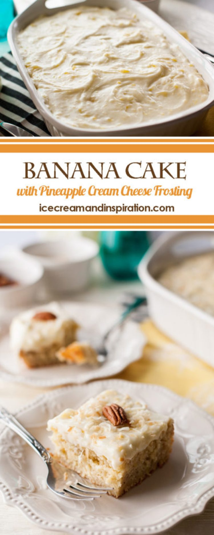 Use up your ripe bananas by making this delicious Banana Cake with Pineapple Cream Cheese Frosting! It's a tropical-themed cake that is perfect for any occasion!
