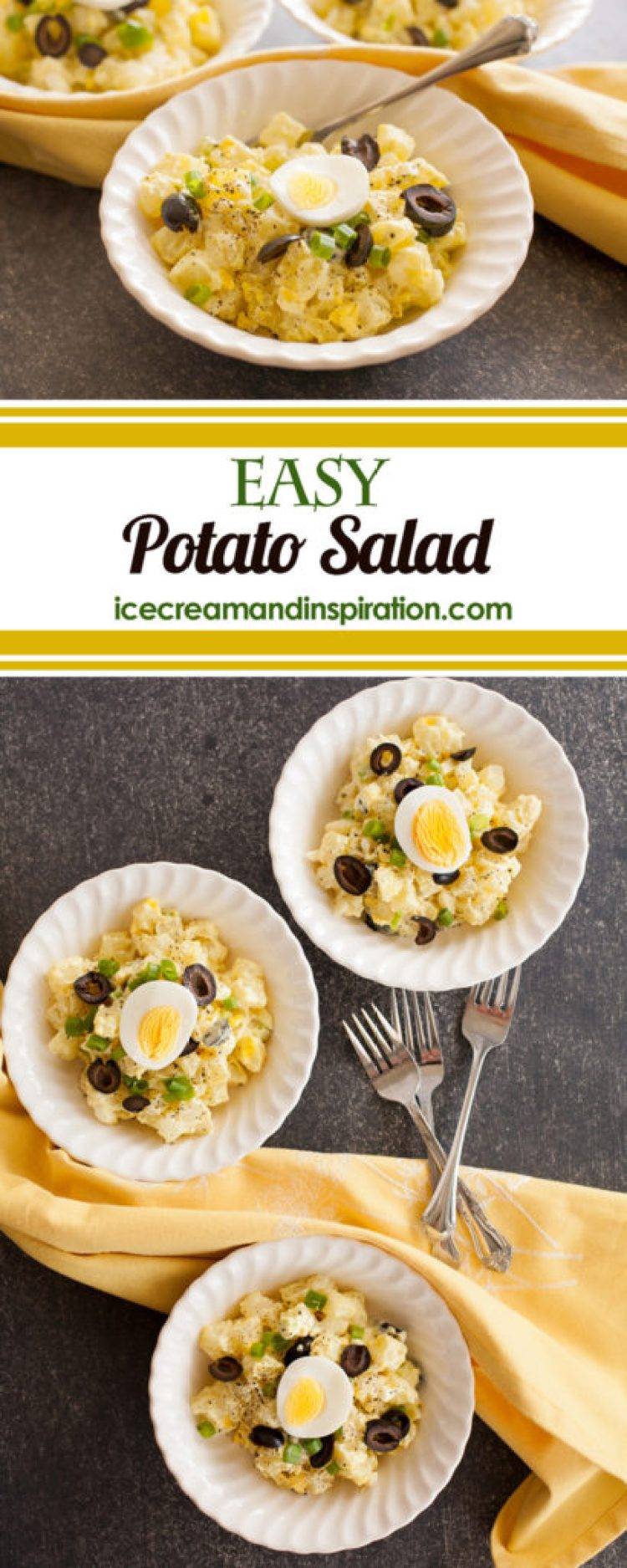 Classic, easy potato salad with simple ingredients. Lots of essential tips to make the best potato salad ever!