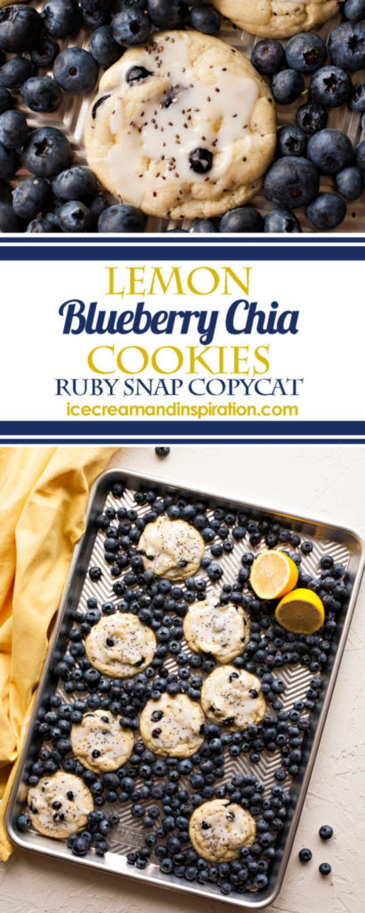 Luscious super soft lemon cookies packed with fresh blueberries and chia seeds make these Lemon Blueberry Chia Cookies the best sweets on the block!