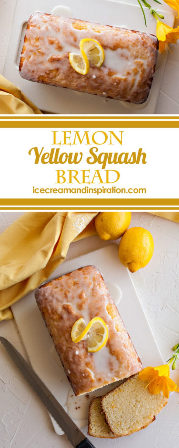 Super moist Lemon Yellow Squash Bread is made with fresh lemon juice and zest and healthy yellow squash from your garden! The perfect way to sneak veggies into dessert!