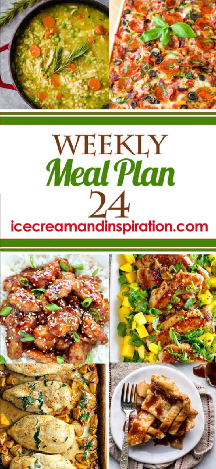 This week's meal plan has recipes for Supreme Pizza Lasagna, Easy Sesame Chicken, Pork Tenderloin with Mango Lime Salsa, and more! Plus, recipes for bread and dessert.
