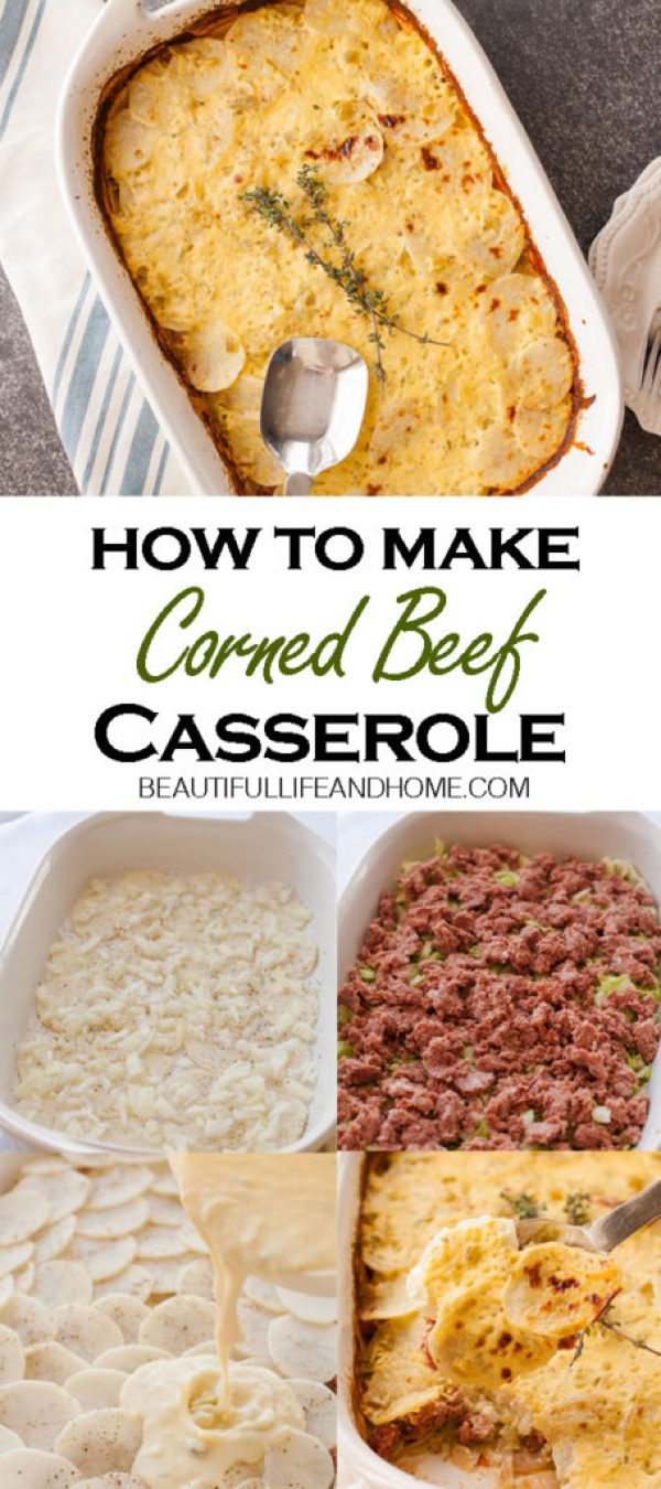 See how easy it is to make this Corned Beef Casserole! It is the perfect dish for Saint Patrick's Day! It contains the classic Irish ingredients of corned beef, cabbage, and potatoes, along with a creamy sauce.