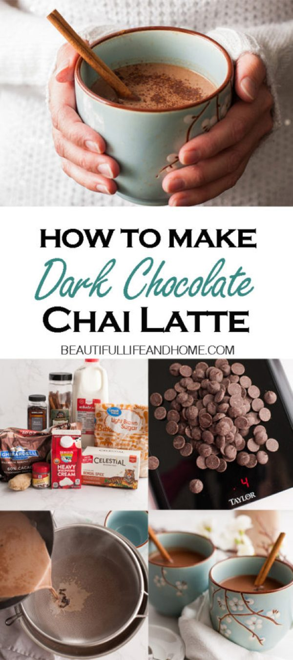 Rich Dark Chocolate with your favorite chai spices like cinnamon, cloves, and ginger! The perfect winter drink to serve at book club, girls' movie nights, or to just sip by the fire while you read a good book!