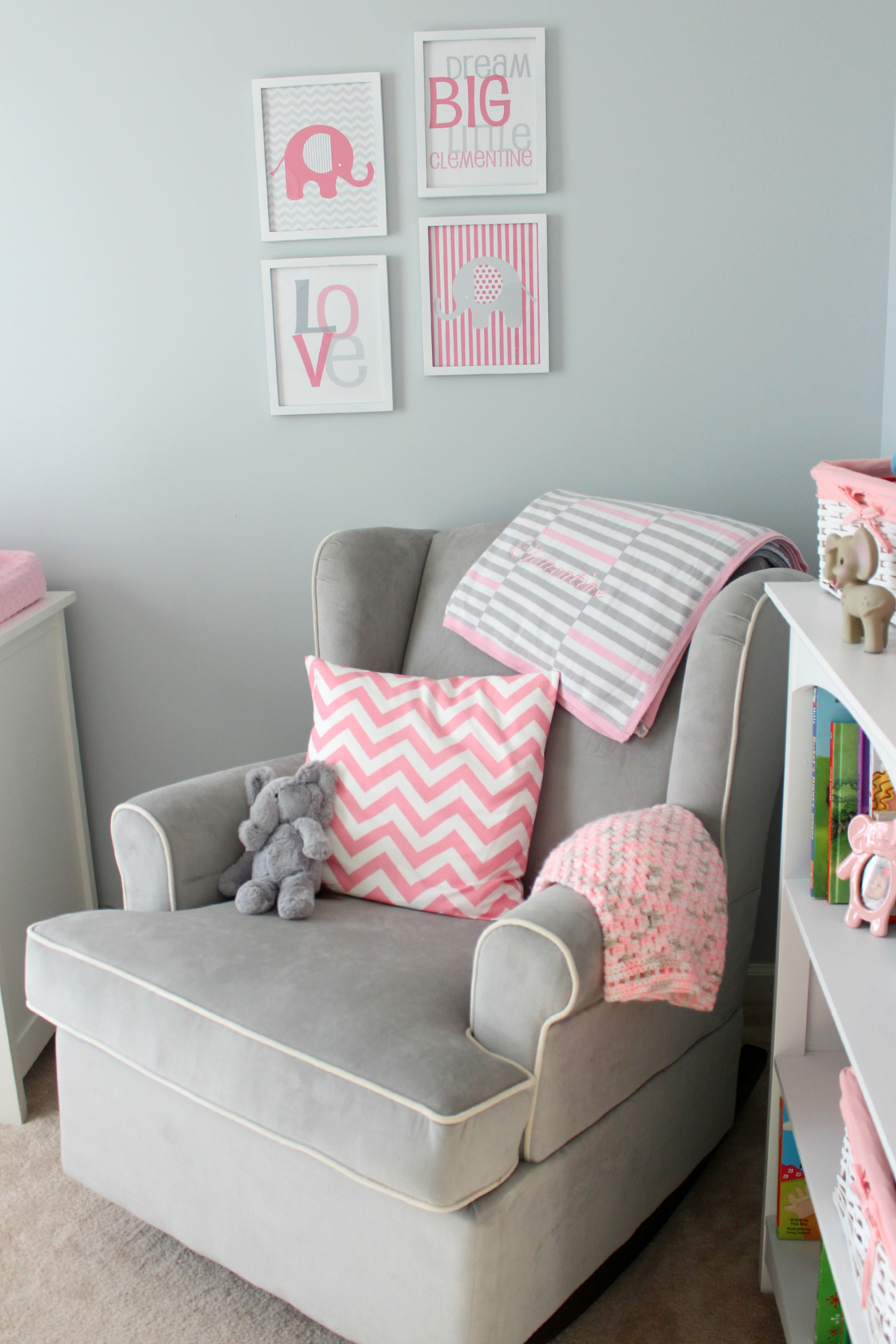 pink nursery rocking chair victorian style chairs uk clementine s gray and elephant ice cream off paper plates