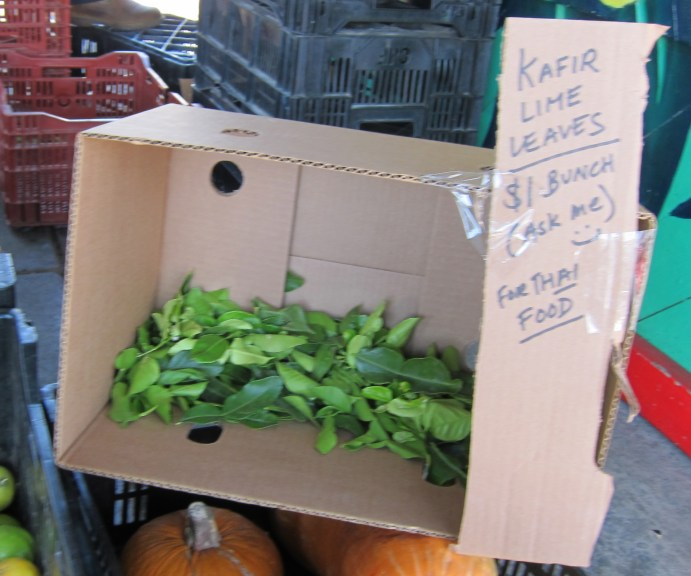 Buying kaffir limes and leaves at the farmers market