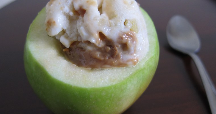 Spiced Apple Ice Cream with Dulce de Leche Swirl