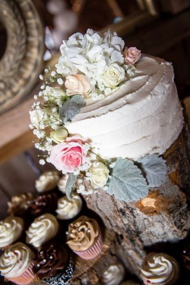 Country rustic wedding cake and cupcakes