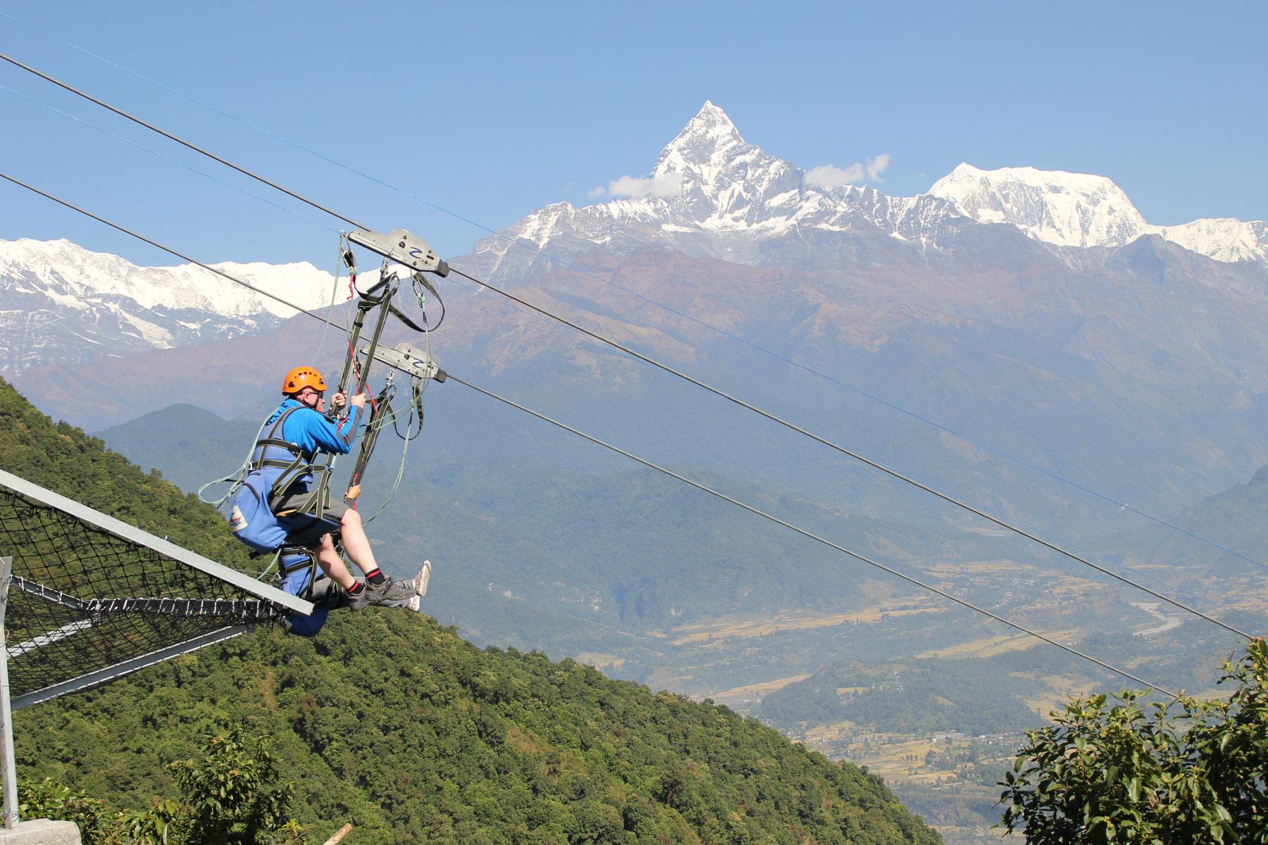 Experience 2000 feet of vertical drop on a zipline