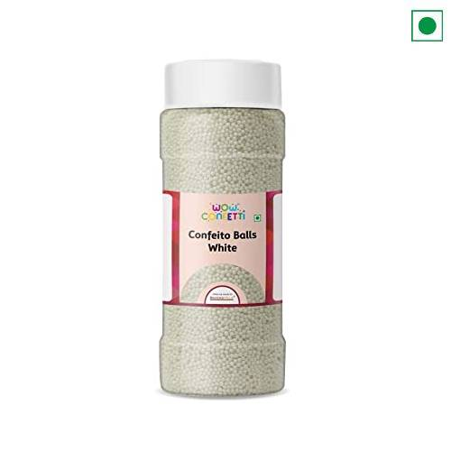 SUGAR SPRINKLES CONFEITO BALLS WHITE 25 GM