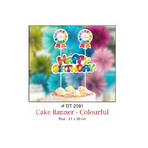 CAKE BANNER HAPPY BIRTHDAY COLOURFUL DESIGN