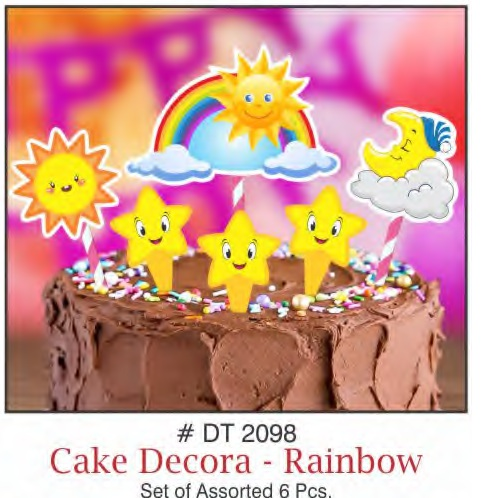 CAKE DEORA RAINBOW THEME SET OF 6 PIECE