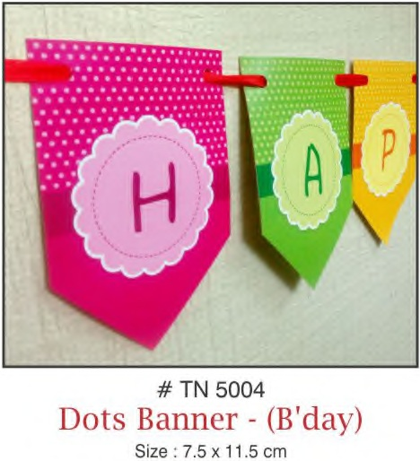 WALL DECORATION BANNER HAPPY BIRTHDAY DOTS DESIGN
