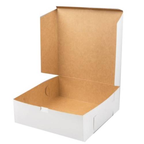 CAKE BOX WHITE COLOUR CORRUGATED 14X14X4.5 INCH
